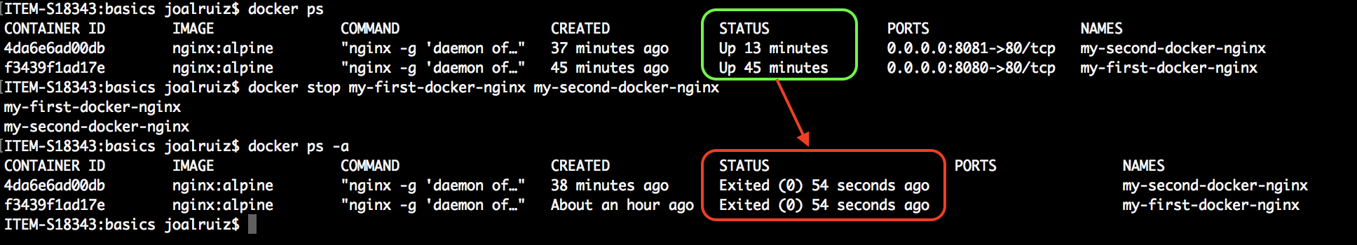 Docker stop containers